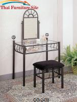 Vanities Casual Wrought Iron Vanity Set with Glass Top and Stool with Fabric Seat by Coaster Furniture