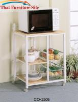 Kitchen Carts White Serving Cart with 3 Shelves & 2 Storage Compartments by Coaster Furniture