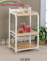 Kitchen Carts White Utility Serving Cart with 3 Laminated Shelves & Wire Basket Storage by Coaster Furniture