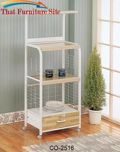 Kitchen Carts 1 Drawer White Serving Cart with 3 Shelves & Casters by