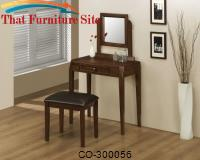 Vanity Detailed With Beveled Corners  Stool Dark  Brown Leather by Coaster Furniture