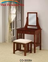 Vanities Mission Style Vanity with Swivel Mirror and Stool with Fabric Seat by Coaster Furniture