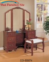 Vanities Traditional Vanity with Tri-fold Mirror and Stool with Fabric Seat by Coaster Furniture