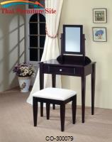 Vanities Contemporary Vanity and Stool with Fabric Seat by Coaster Furniture