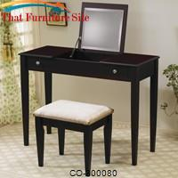 Vanities Contemporary Flip Top Vanity and Stool with Fabric Seat by Coaster Furniture
