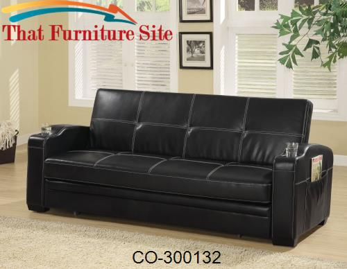 Sofa Beds Faux Leather Sofa Bed with Storage and Cup Holders by Coaste