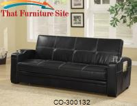 Sofa Beds Faux Leather Sofa Bed with Storage and Cup Holders by Coaster Furniture