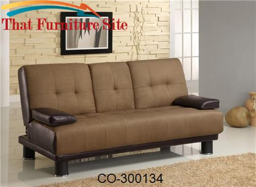 Sofa Beds Two Tone Convertible Sofa Bed with Drop Down Console by Coas