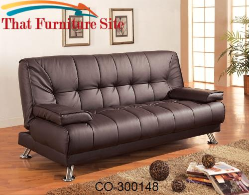 Vinyl Sofa Bed  Brown Futon and easily Removable Arm by Coaster Furnit