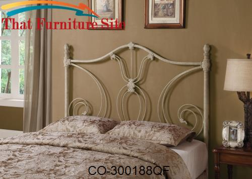 6d517756a56580 Iron Beds and Headboards Full/Queen White Metal Headboard by Coaster F