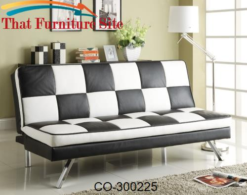 Click Clack Retro Faux Leather Checked Sofa Bed By Coaster Furniture