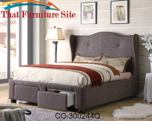 Cleo Queen Brown Tweed Wing Bed with Storage Drawers by Coaster Furnit