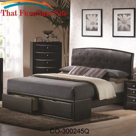 Briana Queen Contemporary Black Upholstered Headboard & Storage Footbo