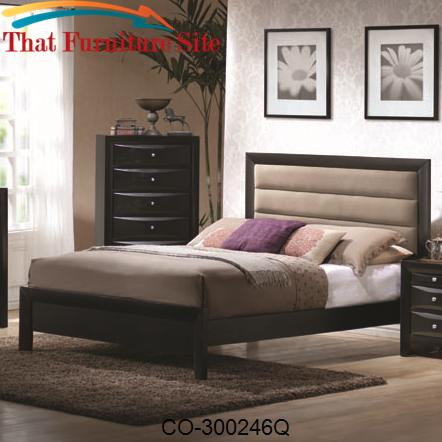 Briana Queen Contemporary Paneled Headboard with Low Profile Footboard