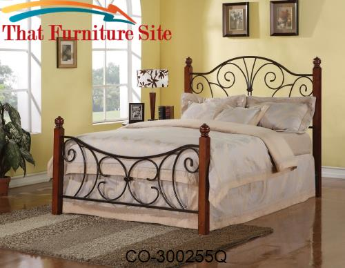 Iron Beds and Headboards Queen Wood with Metal Headboard & Footboard B