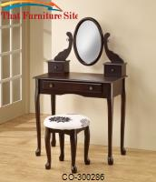 Vanities Traditional Cappuccino Vanity with Tilting Mirror & Coordinating Stool by Coaster Furniture