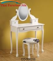 Vanities Traditional White Vanity with Tilting Mirror & Coordinating Stool by Coaster Furniture
