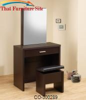 Vanities Glossy Cappuccino Vanity with Hidden Mirror Storage and Lift-Top Stool by Coaster Furniture
