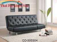 Contemporary Sofa Bed Black Durable  Leather-Like Vinyl by Coaster Furniture