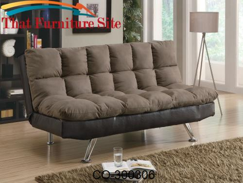 Sofa Bed Black Durable  Leather-Like Vinyl by Coaster Furniture  | Aus