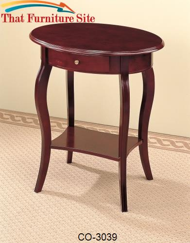 Accent Tables Traditional Oval End Table by Coaster Furniture  | Austi