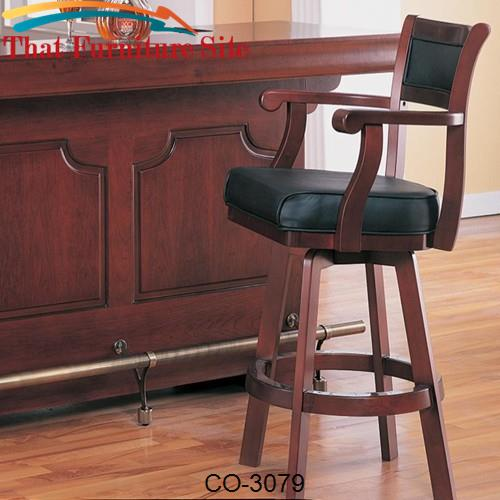Lambert Traditional Bar Stool With Leather Back And Swivel Seat By Coa