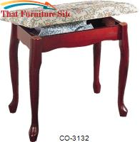 Foot Stools Cherry Finish Upholstered Vanity Stool Bench with Lift Top Storage by Coaster Furniture