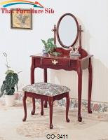 Vanities Traditional Vanity and Stool with Fabric Seat by Coaster Furniture