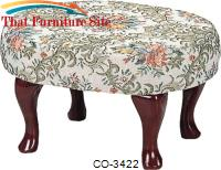 Foot Stools Cherry Finish Upholstered Foot Stool with Shapely Legs by Coaster Furniture