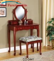 Vanities Traditional Vanity and Stool with Tapestry Fabric Seat by Coaster Furniture