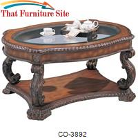 Doyle Traditional Oval Cocktail Table with Glass Inlay Top by Coaster Furniture