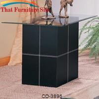 Williams Contemporary End Table With Bonded Leather Base and Glass Top by Coaster Furniture