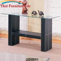 Williams Contemporary Sofa Table with Bonded Leather Base and Glass Top by Coaster Furniture