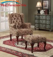 Accent Seating Traditional Tufted Wing Back Chair and Ottoman by Coaster Furniture