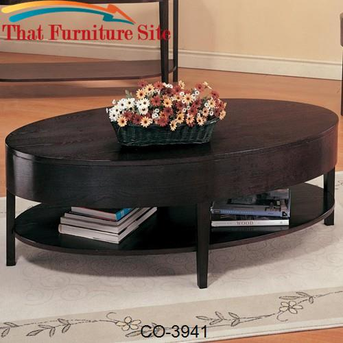 Gough Oval Coffee Table with Shelf by Coaster Furniture  | Austin