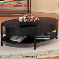 Gough Oval Coffee Table with Shelf by Coaster Furniture