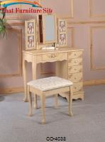 Vanities Traditional Cottage Style Vanity with Hand Painting and Stool with Fabric Seat by Coaster Furniture