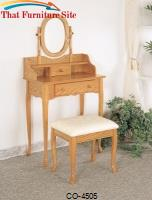 Vanities Traditional Queen Anne Style Vanity and Stool with Fabric Seat by Coaster Furniture