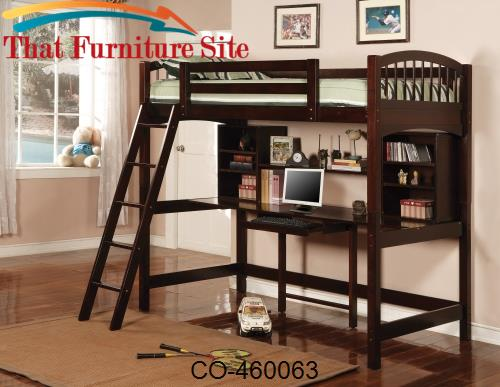 Bunks Casual Twin Workstation Loft Bunk by Coaster Furniture  | Austin