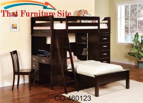 Bunks Workstation Twin Bunk Bed by Coaster Furniture  | Austin