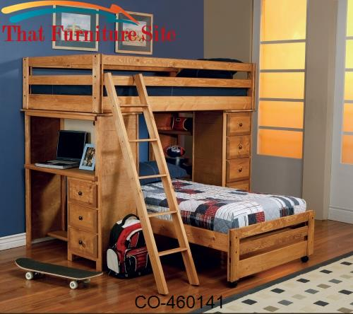 Wrangle Hill Twin Over Twin Loft Bed with Built-In Desk by Coaster Fur