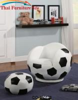 Kids Sports Chairs Small Kids Soccer Ball Chair and Ottoman by Coaster Furniture