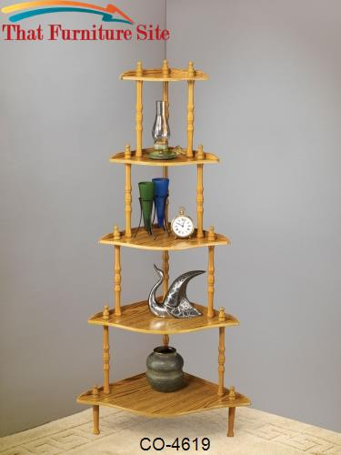Accent Racks 5 Tier Oak Corner Rack by Coaster Furniture  | Austin