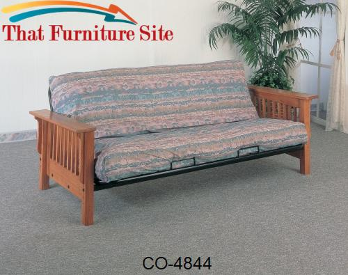 Futons Casual Futon Frame with Mission Slat Side Detail by Coaster Fur