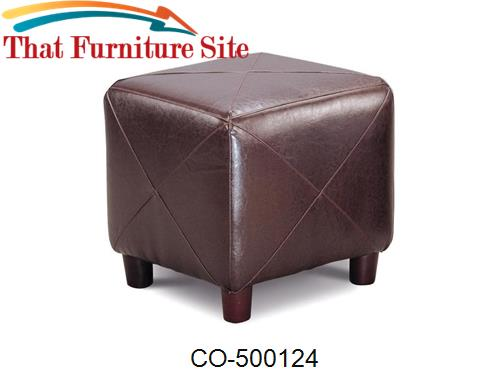 Ottomans Contemporary Faux Leather Cube Ottoman by Coaster Furniture