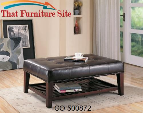 Ottomans Contemporary Faux Leather Tufted Ottoman with Storage Shelf b