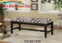 Benches Upholstered Zebra Print Bench by Coaster Furniture