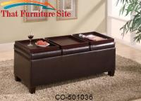 Ottomans Contemporary Faux Leather Storage Ottoman with Reversible Trays by Coaster Furniture