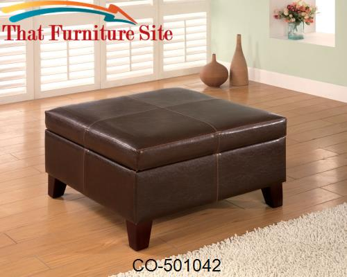 Ottomans Contemporary Square Faux Leather Storage Ottoman by Coaster F