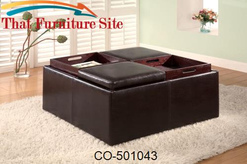 Ottomans Contemporary Square Faux Leather Storage Ottoman with Tray To